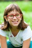 Close up portrait of handicapped girl. Royalty Free Stock Photography