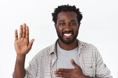 Free Close-up Portrait Handsome Honest And Friendly African-american Bearded Man, Swearing Or Making Statement, Promise Royalty Free Stock Photography - 176360697