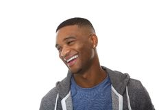 Close up portrait of a handsome young black man laughing Stock Images