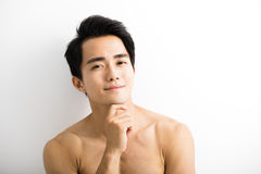 Close up portrait of handsome young man stock images