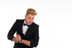 Close-up portrait of a handsome young man in a business suit on white background Royalty Free Stock Photography