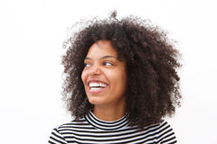 Close up happy african american woman smiling against white background Stock Image