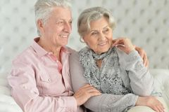 Close-up portrait of happy beautiful senior couple royalty free stock photo