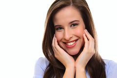 Close up portrait of a happy brunette young woman Royalty Free Stock Image