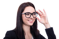 Close up portrait of happy business woman in eyeglasses isolated Stock Photography