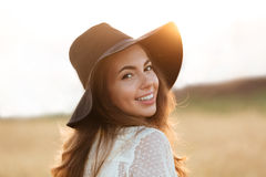Close up portrait of a happy cheerful woman with long hair Royalty Free Stock Photo