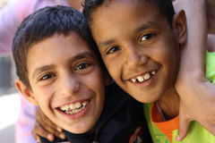 Kids in Egypt. A close up of happy egyptian children in an charity event in Giza, Egypt Stock Photography