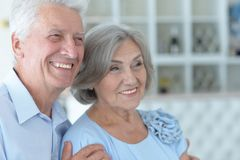 Happy mature couple. Close up portrait of happy mature couple at home Royalty Free Stock Image