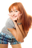Close-up portrait of happy red-haired girl Stock Images