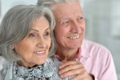 Close-up portrait of a happy senior. Couple at home Royalty Free Stock Photos