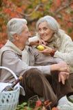 Close up portrait of happy senior couple having picnic stock images