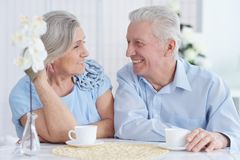 Close-up portrait of happy senior couple at home royalty free stock image