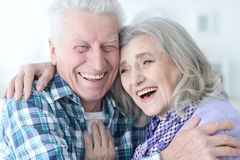 Happy senior couple at home Royalty Free Stock Photography