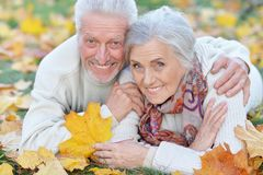 Close-up portrait of happy senior couple lying in park royalty free stock images