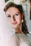 Close up portrait of happy smiling bride in luxury white dress and veil posing with pink rose near the window Royalty Free Stock Images