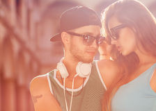 Close up portrait of happy smiling hipster couple in love. Weari Royalty Free Stock Image