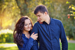 Close up portrait of happy teenage couple Royalty Free Stock Images