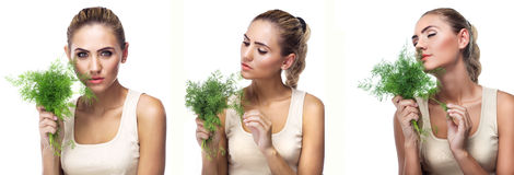 Close-up portrait of happy young woman with  bundle herbs (dill) Royalty Free Stock Photography