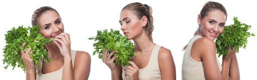 Close-up portrait of happy young woman with  bundle herbs (salat Stock Photo