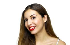 Close up portrait of happy young woman isolated over white background royalty free stock images