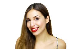 Close up portrait of happy young woman isolated over white background royalty free stock photo