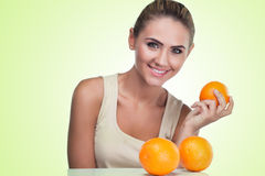 Close-up portrait of happy young woman with juice Royalty Free Stock Photo