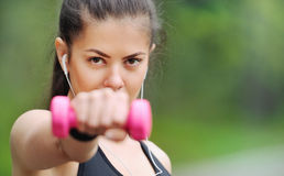 Close up portrait of healthy lifestyle fitness sporty woman with royalty free stock photography