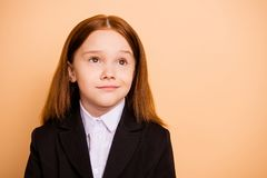 Close-up portrait of her she nice attractive lovely dreamy minded pre-teen girl wearing formal wear thinking about. Close-up portrait of her she nice attractive royalty free stock images