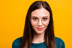 Close-up portrait of her she nice attractive lovely sweet brainy knowledgeable nerd cheerful content straight-haired. Girl wearing round glasses isolated over royalty free stock photography