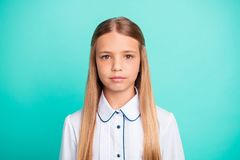 Close-up portrait of her she nice-looking attractive lovely charming confident calm peaceful pre-teen girl isolated over royalty free stock image