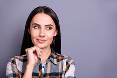 Close-up portrait of her she nice-looking lovely winsome pretty attractive minded straight-haired lady wearing checked. Plaid looking aside thinking isolated royalty free stock photo