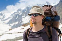 Close up portrait of hiker Stock Image