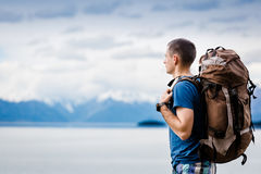 Close up portrait of hiker looking at the horizon. In the mountains Royalty Free Stock Photos