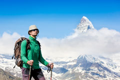 Close up portrait of hiker looking at the horizon Stock Images