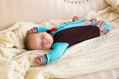 Close-up portrait of infant baby boy sleeping Stock Photo