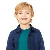 Close-up portrait of joyful blond schoolboy stock image