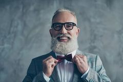Close up portrait of joyful excited with toothy beaming smile st. Ylish trendy grey-haired groomed sharp dressed elegant smart handsome attractive entrepreneur Stock Photos