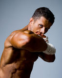 Close-up portrait of a kick-boxer in a fighting stance. Stock Photo