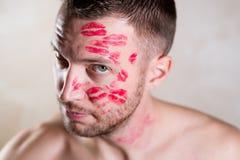 Portrait of a kissed man