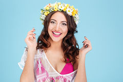 Close-up portrait of a laughing woman wearing flower diadem Stock Images