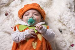 Close-up portrait of a little baby girl with pacifier Royalty Free Stock Images