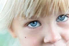 Close-up portrait of little blond caucasian girl. Cute kid with big blue eyes stock photo