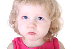 Close up portrait of little blue-eyed girl Royalty Free Stock Photography