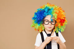 Close-up Portrait of Little boy in clown wig and eyeglasses Stock Photos