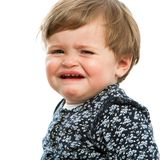 Unhappy little girl crying. Close up portrait of little girl crying. Isolated on white Royalty Free Stock Photography