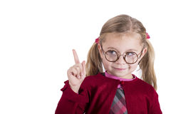 Close-up portrait of little girl wearing glasses Royalty Free Stock Photo