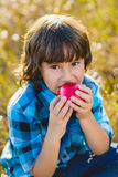 Close up portrait little handsome boy biting off piece of apple outside Stock Photos