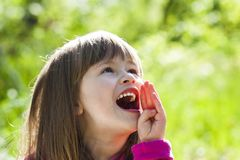 Close-up portrait of a little pretty girl with shouting face exp. Ression Stock Images