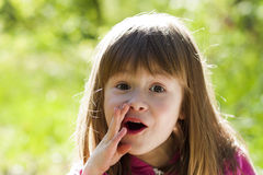 Close-up portrait of a little pretty girl with shouting face exp. Ression Royalty Free Stock Photos