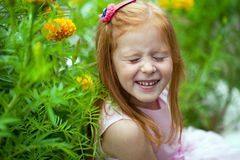Close up, portrait of little red headed girl Royalty Free Stock Photo